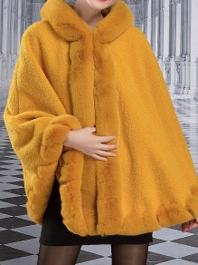 Yellow Patchwork Buttons Cape Hooded Classic Outerwear