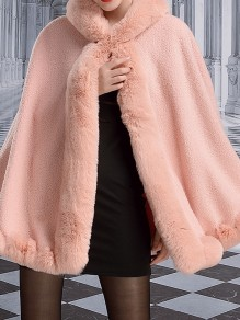 Pink Patchwork Buttons Cape Hooded Classic Outerwear