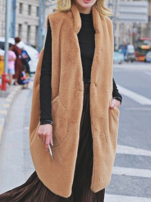 Camel Patchwork Buttons Pockets Comfy Turndown Collar Outdoors Outerwear