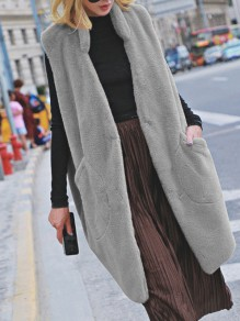 Grey Patchwork Buttons Pockets Comfy Turndown Collar Outdoors Outerwear