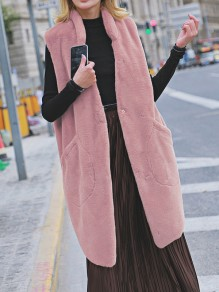 Pink Patchwork Buttons Pockets Comfy Turndown Collar Outdoors Outerwear
