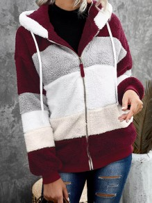 Red Striped Drawstring Zipper Comfy Hooded Going out Outerwear