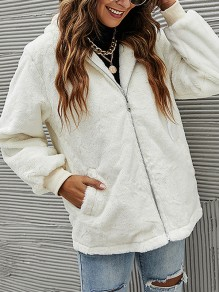 White Patchwork Zipper Pockets Comfy Hooded Elegant Outerwear