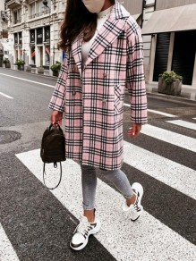 Pink Plaid Pockets Buttons Trendy Turndown Collar Fashion Outerwear