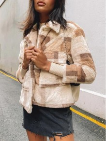 Beige Plaid Buttons Pockets Trendy Turndown Collar Going out Outerwear