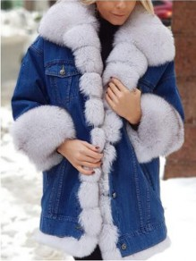 White Patchwork Buttons Pockets Fluffy Turndown Collar Fashion Outerwear