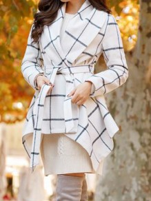 White Plaid Belt Pockets Trendy Turndown Collar Going out Outerwear