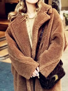 Brown Patchwork Buttons Pockets Comfy Turndown Collar Outdoors Outerwear