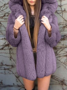 Purple Patchwork Fur Trendy Hooded Oversized Outerwear