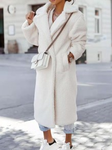 White Patchwork Pockets Comfy Turndown Collar Going out Outerwear