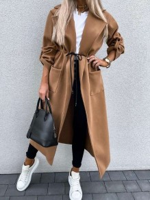 Khaki Patchwork Pockets Drawstring Comfy Turndown Collar Going out Outerwear