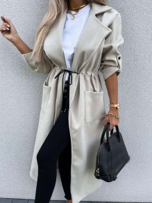 Beige Patchwork Pockets Drawstring Comfy Turndown Collar Going out Outerwear