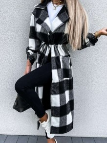 Black Plaid Pockets Drawstring Comfy Turndown Collar Going out Outerwear