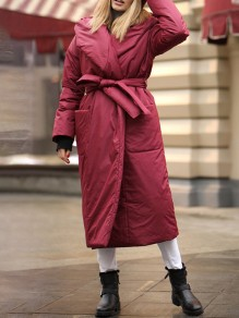 Red Patchwork Belt Pockets Comfy Turndown Collar Outdoors Outerwear