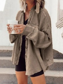 Coffee Patchwork Single Breasted Pockets Trendy V-neck Going out Outerwear