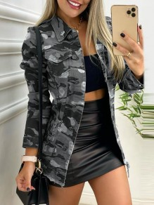 Grey Camouflage Buttons Pockets Trendy Turndown Collar Military Outerwear