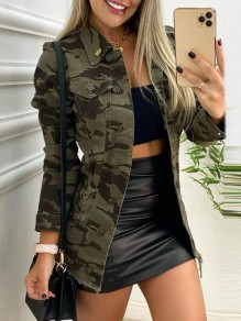 Green Camouflage Buttons Pockets Trendy Turndown Collar Military Outerwear