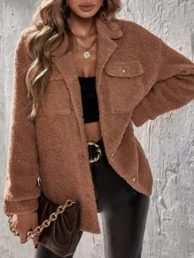 Brown Patchwork Pockets Buttons Fluffy Turndown Collar Going out Outerwear