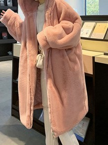 Pink Patchwork Zipper Pockets Pile Coat Hooded Outdoors Outerwear