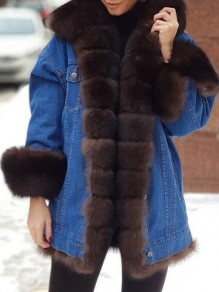 Black Patchwork Pockets Buttons Fluffy Fur Collar Going out Outerwear