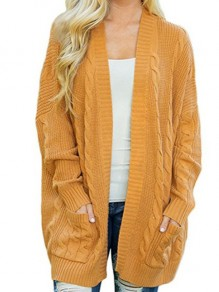 Yellow Patchwork Pockets Ruffle Comfy Round Neck Loose Cardigan Sweater