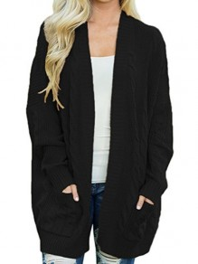 Black Patchwork Pockets Ruffle Comfy Round Neck Loose Cardigan Sweater