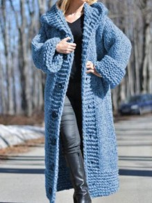 Blue Patchwork Buttons Ruffle Cardigan?Comfy Hooded Going out Sweater