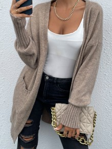 Khaki Patchwork Pockets Ruffle Comfy V-neck Going out Cardigan
