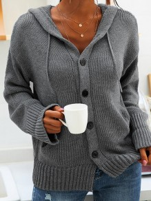 Grey Patchwork Buttons Drawstring Comfy Hooded Going out Cardigan