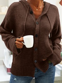 Coffee Patchwork Buttons Drawstring Comfy Hooded Going out Cardigan
