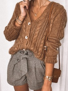 Brown Buttons Ruffle Trendy V-neck Vintage Cardigan
