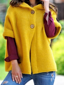 Yellow Patchwork Buttons Ruffle Trendy Hooded Fashion Cardigan