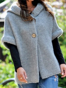 Grey Patchwork Buttons Ruffle Trendy Hooded Fashion Cardigan