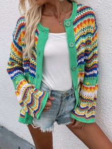 Green Colorful Buttons Cut Out Trendy V-neck Loose Cardigan