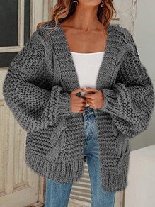 Grey Patchwork Ruffle Comfy V-neck Going out Cardigan