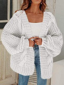 White Patchwork Ruffle Comfy V-neck Going out Cardigan