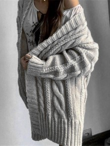 Grey Patchwork Ruffle Trendy V-neck Going out Cardigan