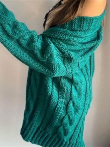 Green Patchwork Ruffle Trendy V-neck Going out Cardigan