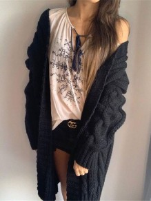Black Patchwork Ruffle Trendy V-neck Going out Cardigan