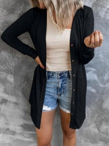 Black Patchwork Buttons Comfy V-neck Going out Cardigan