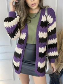 Purple Striped Patchwork Ruffle Trendy V-neck Going out Cardigan