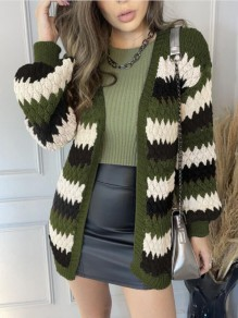 Green Striped Patchwork Ruffle Trendy V-neck Going out Cardigan