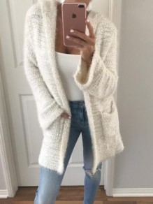 White Patchwork Pockets Fluffy Hooded Going out Cardigan