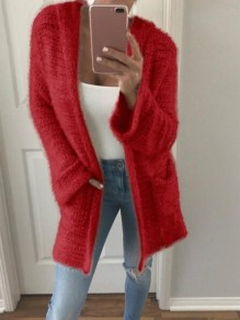 Red Patchwork Pockets Fluffy Hooded Going out Cardigan