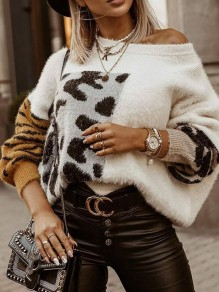 White Leopard Ruffle Print Trendy Round Neck Loose Pullover Sweater