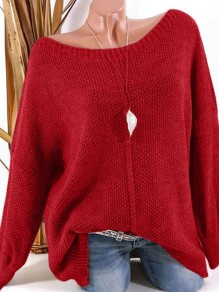 Red Patchwork Ruffle Trendy Boat Neck Loose Pullover Sweater