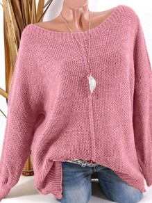 Pink Patchwork Ruffle Trendy Boat Neck Loose Pullover Sweater
