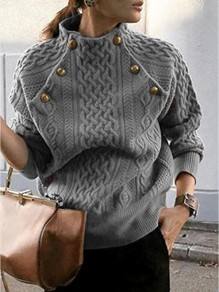 Grey Patchwork Buttons Ruffle Trendy Round Neck Loose Pullover Sweater