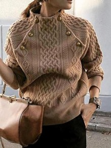 Brown Patchwork Buttons Ruffle Trendy Round Neck Loose Pullover Sweater