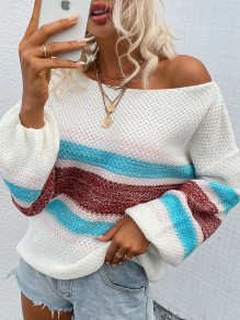 Coffee Striped Ruffle Comfy Boat Neck Loose Pullover Sweater